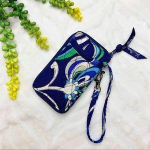 Vera Bradley Blue Floral Quilted Wristlet Wallet